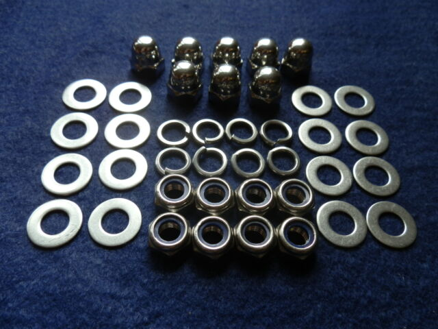 LAMBRETTA STAINLESS STEEL POLISHED DOMED DOME ACORN WHEEL NUTS /& WASHERS QTY 20
