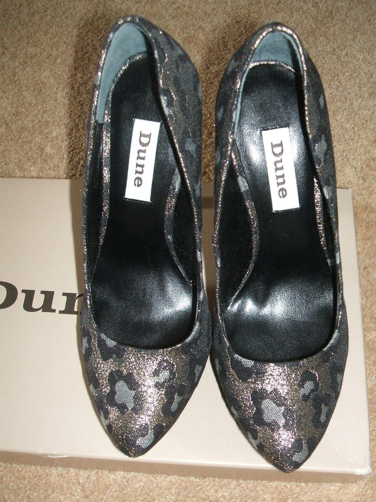 BNWB DUNE SIZE 3 PRINT 36 HUSH D LEOPARD PRINT 3 BLACK GOLD GREY HIGH HEEL COURT Schuhe bb6076