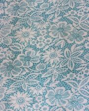 Vintage Turquoise Blue & White Printed Floral & Lace Cotton Feedsack Fabric