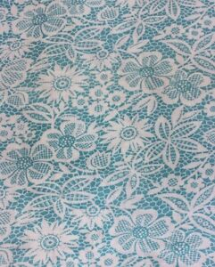 Vintage-Turquoise-Blue-amp-White-Printed-Floral-amp-Lace-Cotton-Feedsack-Fabric