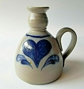 Rowe-Pottery-Cobalt-Blue-Heart-Vase-Oil-Lamp-Candle-Holder-1992-Cambridge-Potter