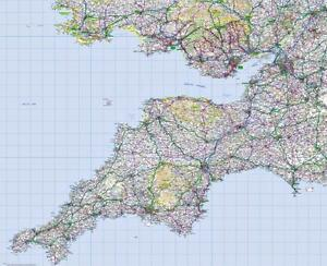 Map Of S England.Details About Ordnance Survey Wall Map Of South West England Road Map Sw England Wall Map