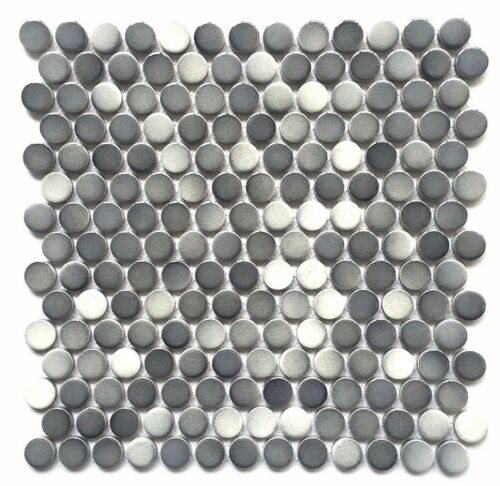 3/4 X 3/4 Penny Round Multi Gray Porcelain Mosaic Wall And Floor (5 Pack) by Squarefeet Depot