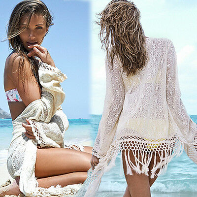 Sexy Women Hippie Lace Crochet Bikini Cover Up Swimwear Beach Dress Tops Kaftan