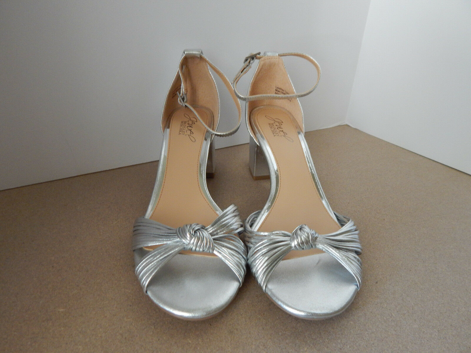 BADGLEY MISCHKA 7.5 SILVER KNOTTED BLOCK HEEL MID STRAP BHLDN SOLD OUT 109