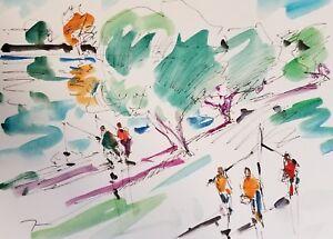 JOSE-TRUJILLO-ORIGINAL-Watercolor-Painting-SIGNED-MODERN-Fishing-People-Lake