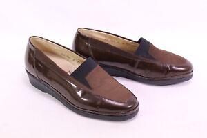 C2154-Goldkrone-Damen-Gummizug-Slipper-Schuhe-Lack-Leder-braun-Gr-36-3-K