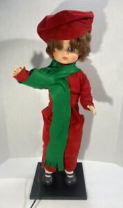 "Rennoc 24"" Christmas Caroler Doll Boy Animated Misding Candle Victorian"