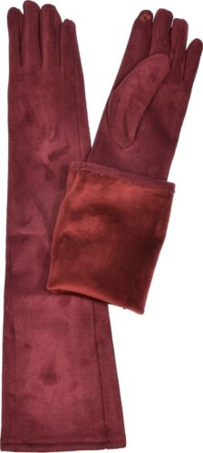 Aprileo Women/'s Long Faux Suede Gloves Solid Teach Warmth Stylish