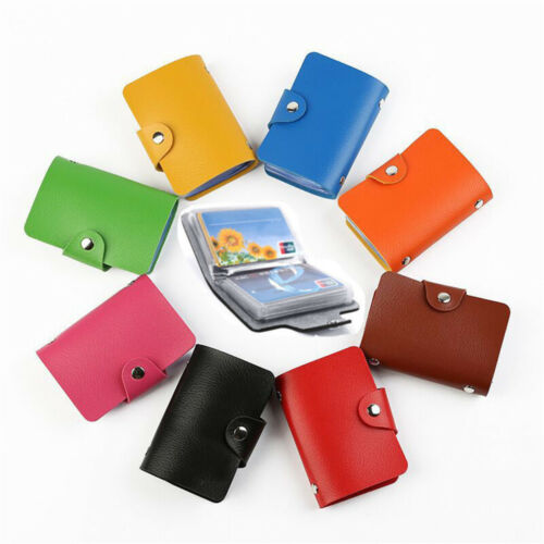 Women Men Leather Pocket 12Card ID Credit Card Holder Case Purse Business Wallet