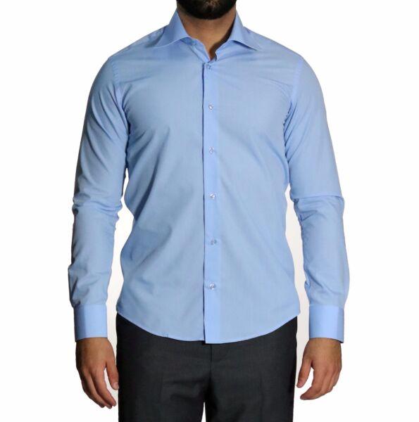 Slim-fit Camicia Extra Lungo Braccia 76 Cm Tg. 5xl Blu Oltremare Chiaro