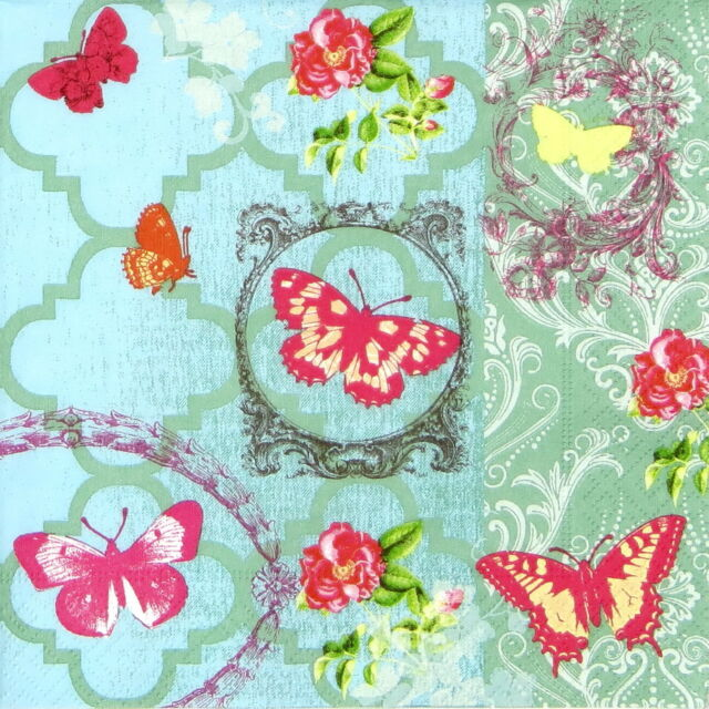 "4x Single Table Paper Napkins for Party, Decoupage, Craft"" Butterfly Garden"