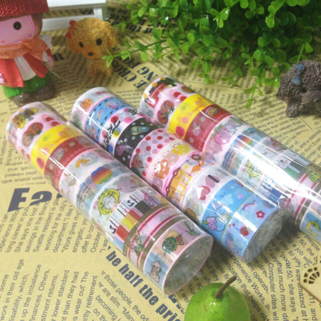 50pcs Mixed Rolls Cute Cartoon Deco Scrapbooking Washi Tape Adhesive Sticker