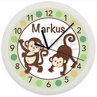 Mod Pop Monkey Nursery Wall Clock Personalized Baby Decor Gift Shower Green Boy