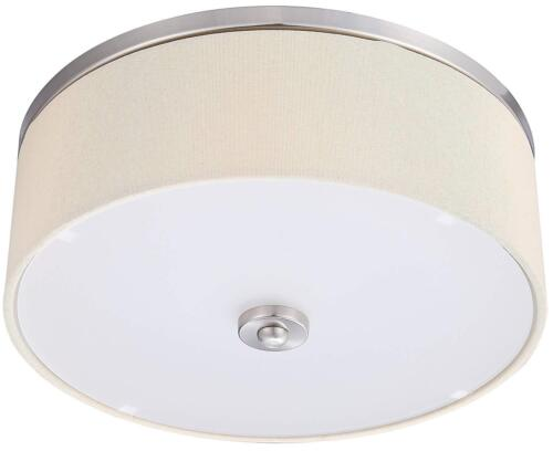 "LB72154 Ceiling Light Fixture Flush Mount Drum Shade Off White 17/"" wide 4K 1600L"