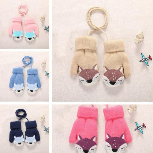 1Pair Baby Winter Cartoon Fox Warm Knitted Gloves Wool Thick Plush Mitten Soft