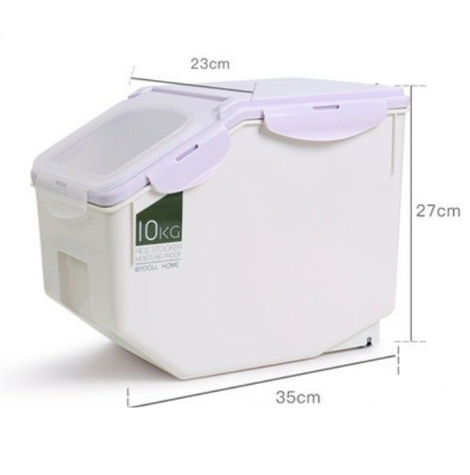 A08 10KG Kitchen Rice Storage Bin Flour Cereal Beans Grain Box Container Case Q