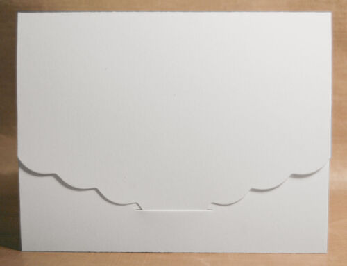 8 A2 White Scalloped Tuck Card Die Cuts great for stamping and embellishing!