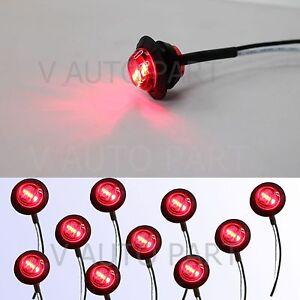 10X-Red-Mini-12V-3-4-034-Round-Truck-Marker-Tailer-Lorry-Light-3-LED-bullet-Grommet