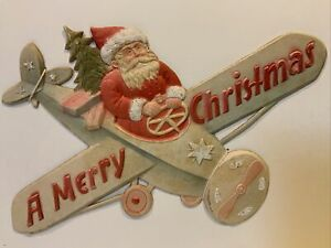 Antique-German-Santa-Flying-Airplane-Embossed-Mica-Glitter-A-Merry-Christmas