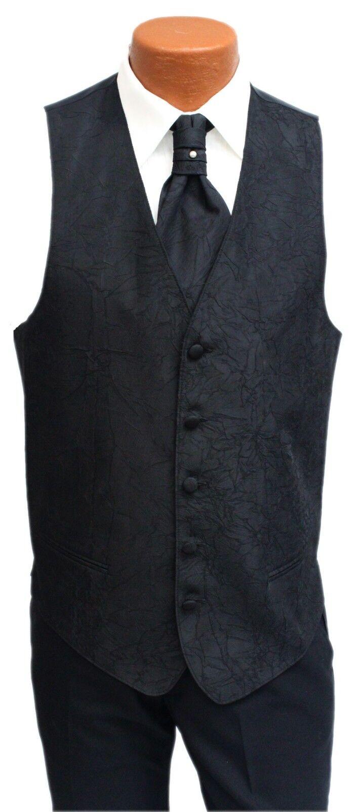 Black Mens Matisse Fullback Formal Tuxedo Vest & Tie Wedding w/ Pocket Square