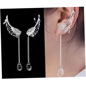 Angel-Wing-Crystal-Silver-Plated-Earrings-Drop-Dangle-Ear-Stud-Cuff-Clip-LM