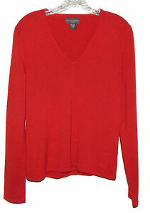 Banana-Republic-100-Cashmere-Red-V-Neck-Sweater-Size-Large-L-SAC-17