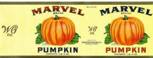 Antique//Vtg Marvel Pumpkin CAN LABEL Danville IL Webster Grocer Co General Store
