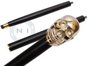 Vintage-Antique-Style-Handle-Brass-Wood-Victorian-Walking-Stick-Cane-Skull-Head