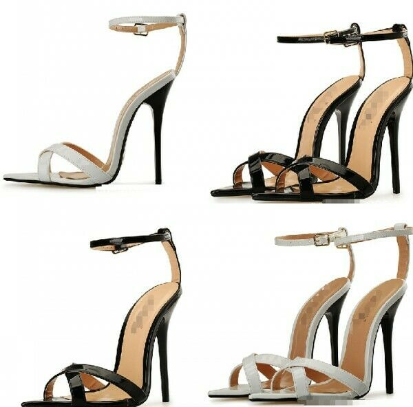 Donna Open Toe High Stiletto Heel Court scarpe Buckle Strap Slingbacks Cut Out