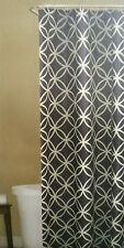 "Room & Retreat Fabric Shower Curtain 70""x72"" ~ Emma Blue White Geometric Pattern"