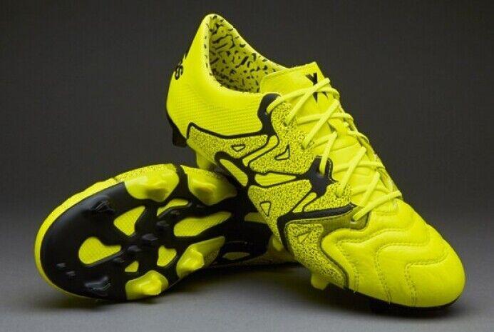 Adidas X 15.1 FG AG B26979 Fútbol botas Botines De Cuero Negro Amarillo