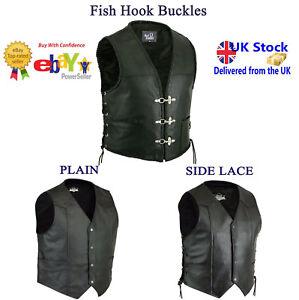 Vests Coats & Jackets Mens Cut Off Motorcycle Waistcoat Cowhide Leather Black Biker Vest Jacket