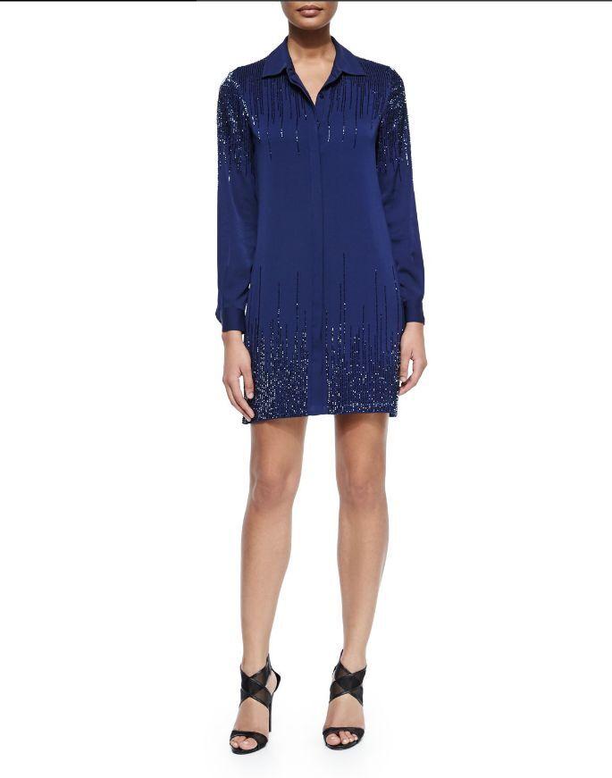 Diane von Furstenberg Prita Embellished Silk Shirtdress