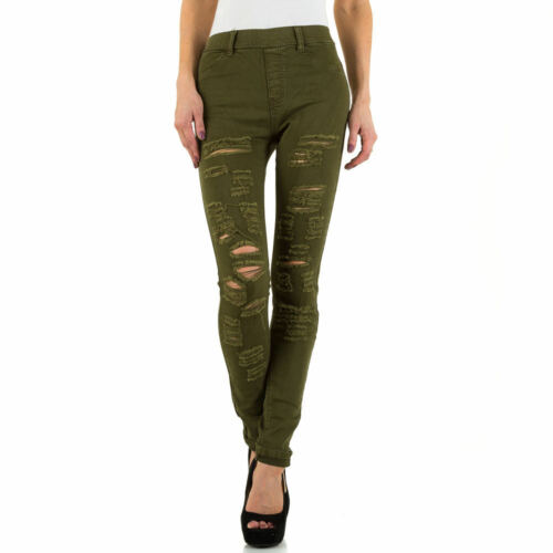 DESTROYED HIGH WAIST SKINNY DAMEN JEANS 38 Grün 6005 0€