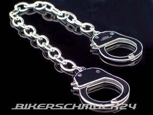 Handschellen-Armband-mit-Mechanik-Handcuffs-Edelstahl-silber-Herren-Geschenk-NEU