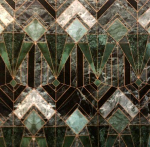 Marble Diamonds Graphic Green Anthracite Printed Art Deco Italian Velvet Fabric