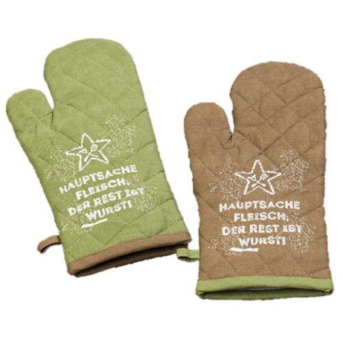 2 x Topfhandschuhe mit Schriftzug 100/% Baumwolle