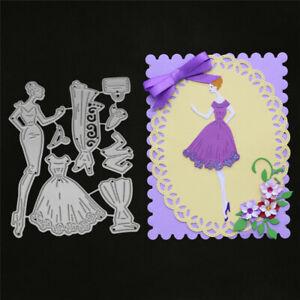 Stanzschablone-Dame-Braut-Hochzeit-Oster-Geburtstag-Weihnachten-Karte-Album-DIY