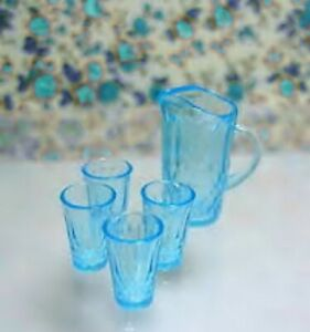 Light Blue Miniature Dollhouse Chrysnbon Pitcher and 4 glasses