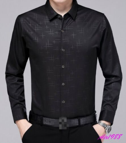 2018 Men/'s Silk Floral Golden Print Top Quality Casual Dress Shirts Tops Luxury