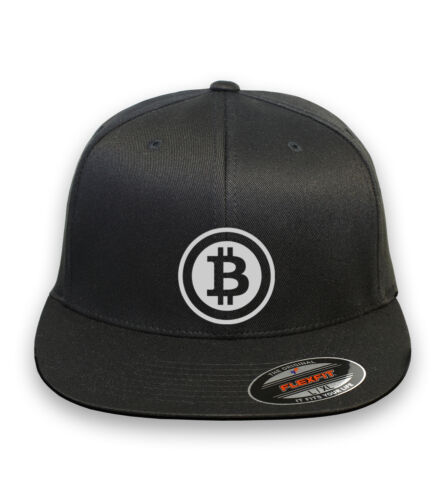 BITCOIN  Flex Fit HAT CURVED or FLAT BILL  ***FREE SHIPPING in BOX***