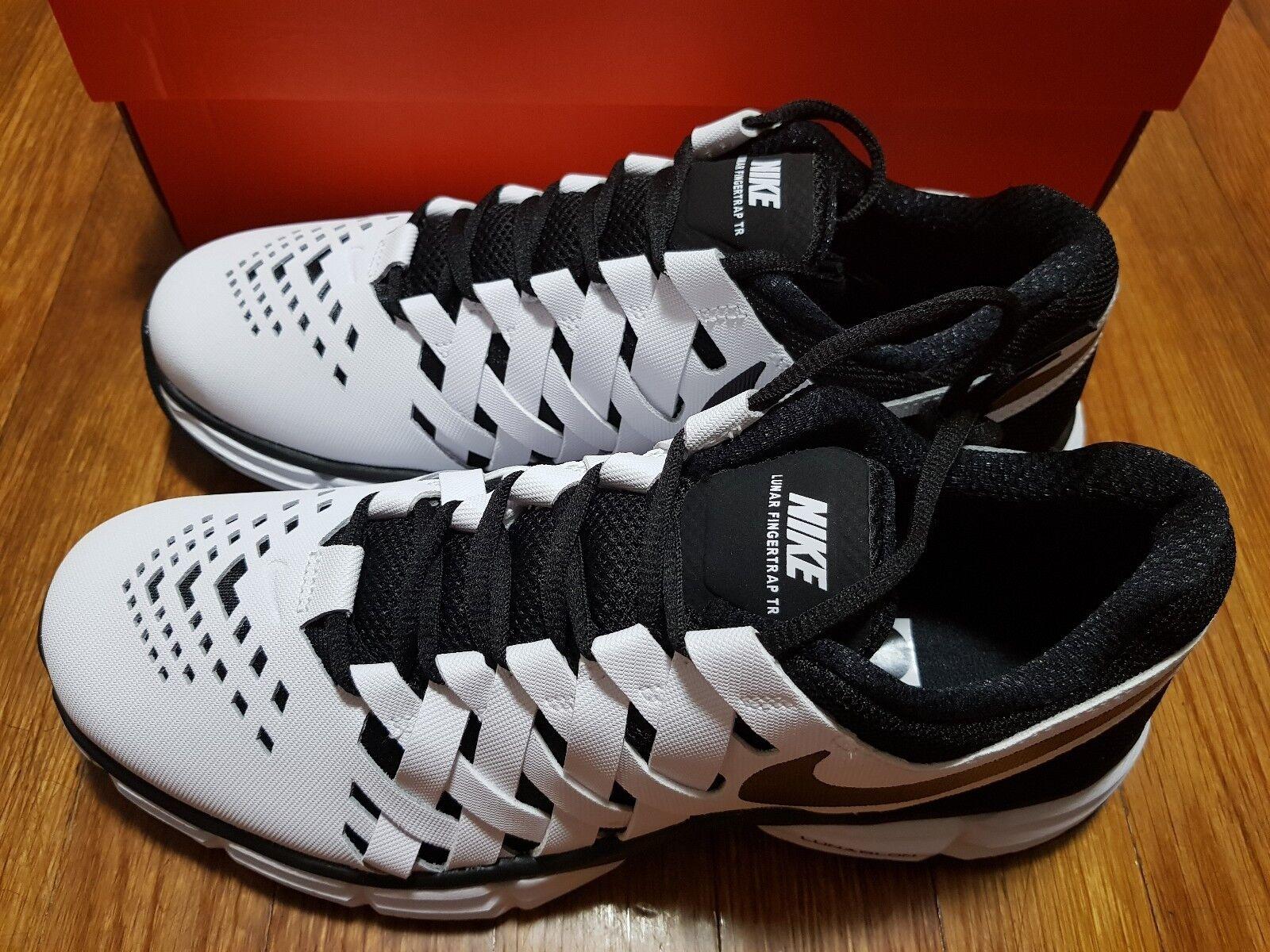 Nike Men's Lunar Fingertrap Tr Training Shoe white & black 898066 100 Comfortable Wild casual shoes