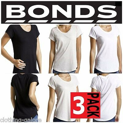BONDS WOMENS 3 PACK PCS RAGLAN TSHIRT SHORT SLEEVE TEE T LADIES TOP BLACK WHITE