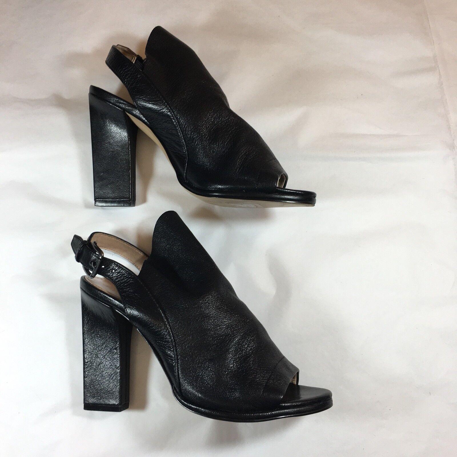 FRENCH CONNECTION booties heels schwarz soft Leder open heel toe UK 4 37