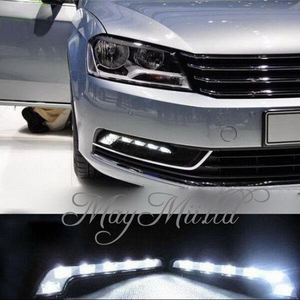 2X 6LED White Car Driving Lamp Fog 12V Universal DRL Daytime Running Light  H