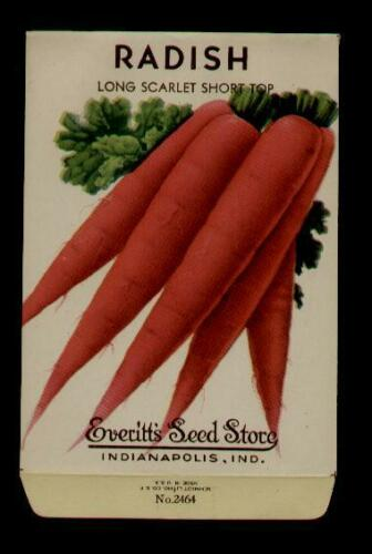 INDIANAPOLIS,IND EVERITT/'S SEED 1940/'s RADISH FRENCH LITHO SEED PACKET