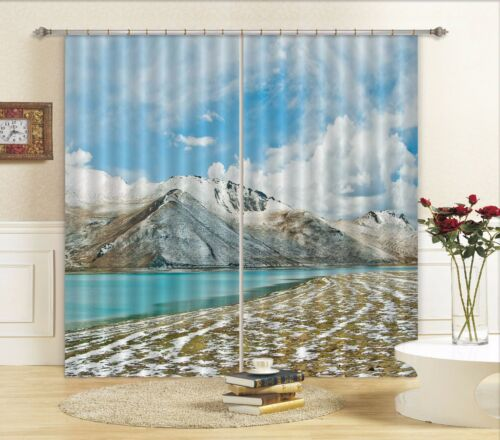 3D Snow Lake 30 Blockout Photo Curtain Printing Curtains Drapes Fabric Window AU