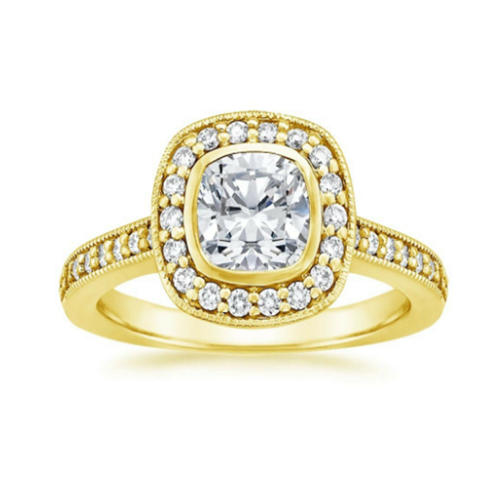 0.85 Ct Cushion Cut Diamond Engagement 14K Yellow gold Wedding Rings Size 7 6.5