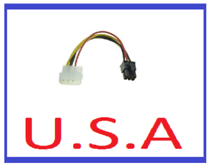 Graphics Card Power Adapter//4 to 6 Pin//Converter//Molex//PCI-E//Video//Cable//PC//B-42